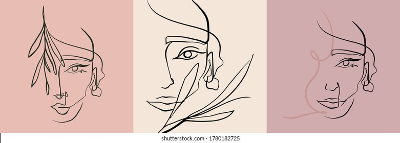 Collection line art female portrait. Minimal style design. Can use t-shirt print, beauty and fashion concept, wedding, poster, decoration, logo.