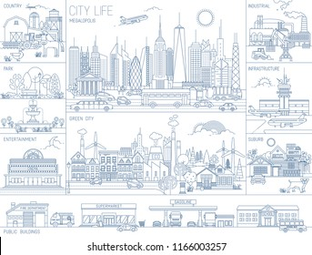 Collection of line art vector illustrations of city neighborhoods, infrastructure, buildings and views