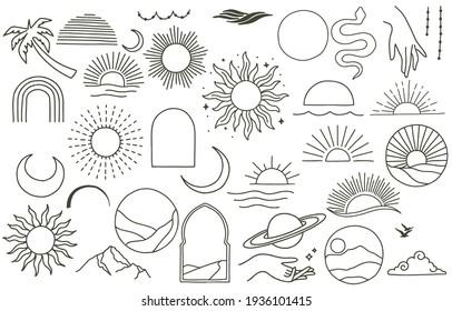 Kollektion von Liniendesign mit Sonne, Meer, Wellen, Berg.Bearbeitbare Vektorgrafik für Website, Aufkleber, Tattoo,Icon