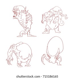 Collection of line drawn vector illustrations of alien mutant monsters
