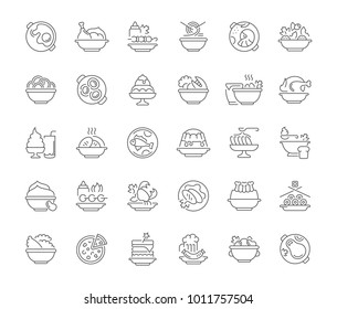 Collection of line gray icons of dishes. Set of vector simple concepts for creative projects and apps. Info graphics elements and pictograms.
