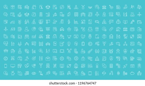 Collection of line white icons of business and finance. Set of vector simple elements with bold outlines on a color background. Info graphics signs and pictograms.