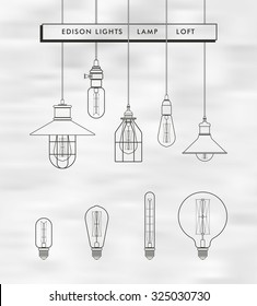Collection of linear icon Edison light bulbs and Lamps for design catalog, website, background, covers,cards... Loft, modern,retro style. Vector illustration. Isolated