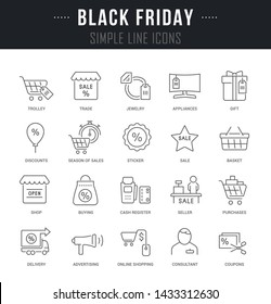 Collection linear icons of black friday with names.