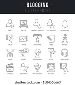 Collection linear icons of blogging with names.