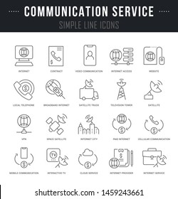 Collection linear icons of communication service with names.