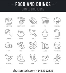 Collection linear icons of food and drink with names.