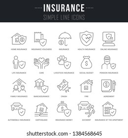 Collection linear icons of insurance with names.