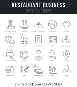 Collection linear icons of restaurant business with names.