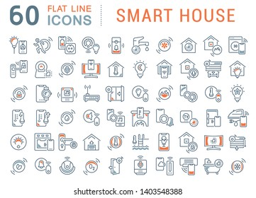 Collection linear icons of smart house for modern concepts, web and apps.