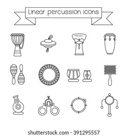 Collection of linear icons of traditional for folk music percussion instruments.