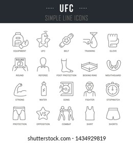 Collection linear icons of ufc with names.