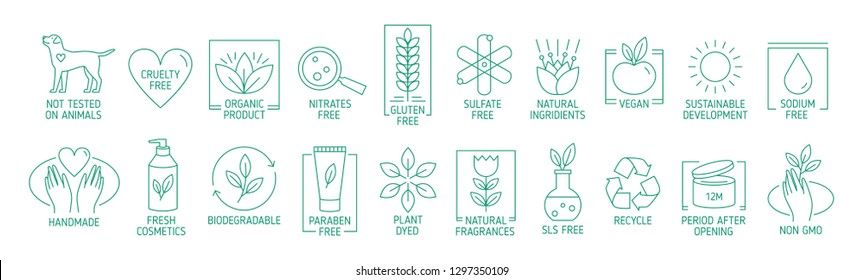 Collection of linear symbols or badges for natural eco friendly handmade products, organic cosmetics, vegan and vegetarian food isolated on white background. Vector illustration in line art style.