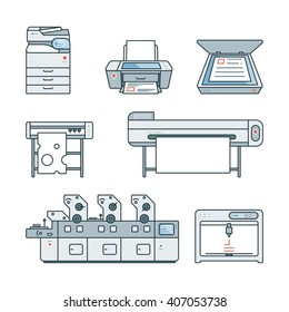 Collection of linear,flat Offset Printer,3D printer,Scanner,Laser printer,Plotter machine,Cutting plotter,InkJet printer,Copy Machine,photo,large format Printer.Vector illustration. Isolated on white