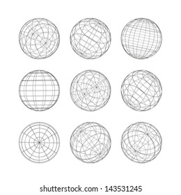 Collection of lines ball vector template. Abstract globe logo symbol, isolated round icon, business concept .You can use science and technology, tourism, financial or environmental background.