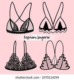Collection of lingerie bra. Sexy bra set. Vector illustrations EPS 10.