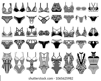 Collection of lingerie. Panty and bra set. Vector illustrations