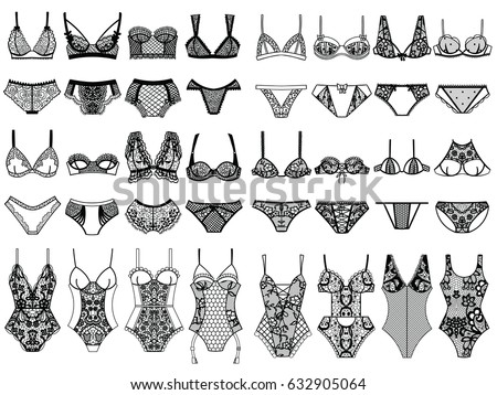 Royalty-free stock vector images ID  632905064. Collection of lingerie.  Panty and bra set. Body. Vector illustrations. - Vector 0b54d7d87