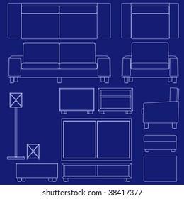 Blueprint living room furniture illustrations raster stock collection of living room furniture in blueprint vector style malvernweather Images