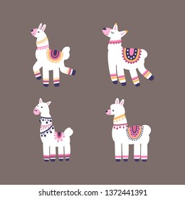 A collection of llamas isolated on a background. Colorful flat vector illustration.