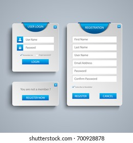 Collection log in and register web screen with blue bookmark template