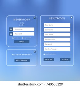 Collection log in and register web screen with blue design template