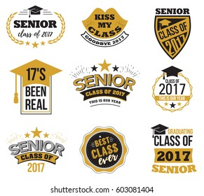 Collection of logo badges and cute funny labels for graduating senior class 2017, in black and gold isolated against white background, design for the graduation party for university or college