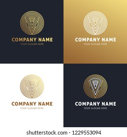 Collection of logos of a business company with the letter V