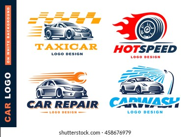 Collection of logos car, taxi service,  wash, repair, Competitions
