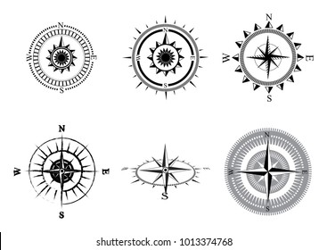 69d2deeb5 Collection of logos of the compass. Stylized sea compasses with a wind  rose. Measuring