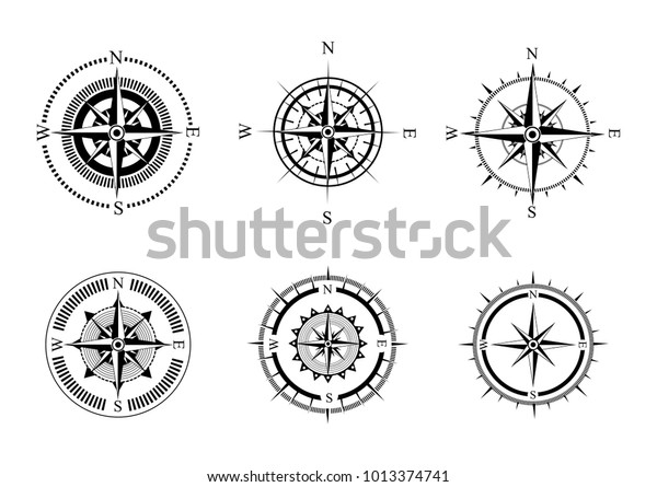 Collection Logos Compass Stylized Sea Compasses Stock Vector