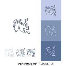 Collection of logos or icons of a squirrel line