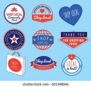 collection of logos ideas based on shopping local