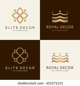 A collection of logos for interior, furniture shops, decor items and home decoration