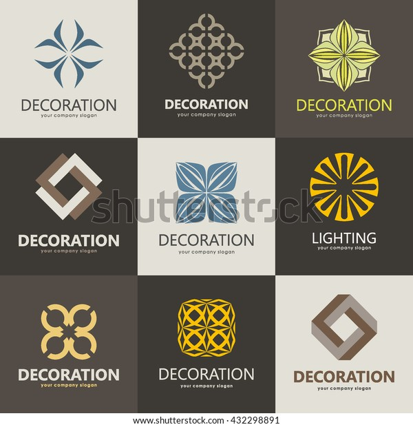 Collection Logos Interior Furniture Shops Decor Stock Vector Royalty Free 432298891