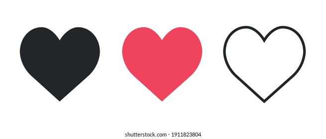 Collection of Love Heart Symbol Icons . Love Illustration Set with Solid and Outline Vector Hearts