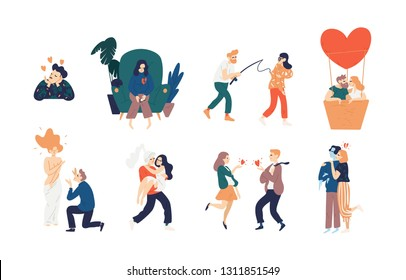 Collection of love scenes - heartbroken woman, kissing couple in air balloon, romantic date, girl with cold avoidant partner, knight carrying his lady. Vector illustration in flat cartoon style.