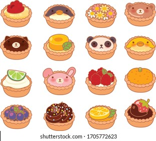 Collection of lovely baby bakery food doodle icon, cake , adorable tart, sweet pie, kawaii cupcake, girly chocolate pie, in childlike manga cartoon isolated on white - Vector file EPS10