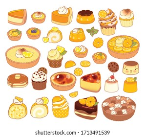 Collection of lovely baby bakery food doodle icon, cute cake , adorable pie, sweet pudding, kawaii custard, girly Bread, in childlike manga cartoon isolated on white - Vector file EPS10