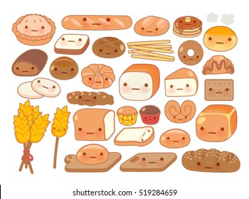 Collection of lovely baby bakery food doodle icon, cute white bread, adorable bun, sweet wheat bread, kawai croissant, girly brown bread in childlike manga cartoon isolated on white- Vector file EPS10