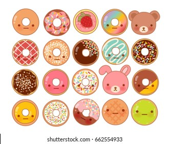 Collection of lovely baby bakery food doodle icon, cute donut , adorable rainbow doughnut, sweet dough, kawaii pastry, girly muffin , in childlike manga cartoon isolated on white - Vector file EPS10