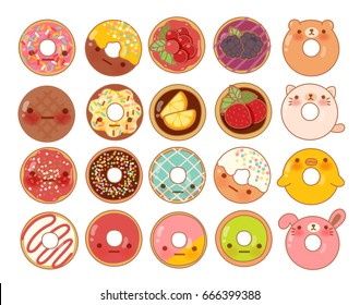 Collection of lovely baby bakery food doodle icon, cute donut manga cartoon isolated on white - Vector file EPS10