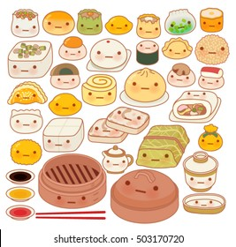 Collection of lovely baby chinese oriental food doodle icon, cute fun go, adorable har gow, sweet dimsum, kawaii shumai , girly dumpling  in childlike manga cartoon isolated on white-Vector file EPS10