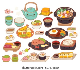 Collection of lovely baby japanese food doodle icon, cute tempura, adorable sashimi, sweet hamburg steak, kawaii maki, girly sukiyaki in childlike manga cartoon isolated on white-Vector file EPS10