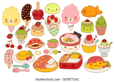 Collection of lovely baby japanese food doodle icon, cute omelette, adorable dessert, sweet choco banana, kawaii pudding, girly ramen in childlike manga cartoon isolated on white-Vector file EPS10