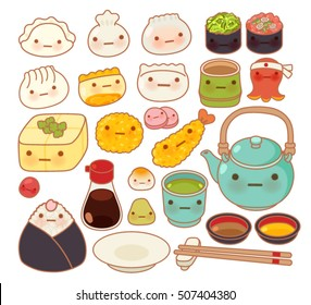 Collection of lovely baby japanese oriental food doodle icon, cute sushi, adorable dumpling, sweet tempura, kawaii wonton, girly gyoza  in childlike manga cartoon isolated on white -Vector file EPS10