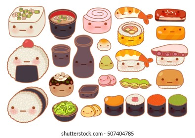 Collection of lovely baby japanese oriental food doodle icon, cute sushi, adorable sashimi, sweet nigiri, kawaii miso soup, girly maki, in childlike manga cartoon isolated on white-Vector file EPS10