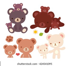 Collection of lovely bear family doodle icon, cute papa bear , kawaii mama bear, adorable baby bear hold hand and family hug in childlike manga cartoon style isolated on white-Vector file EPS10