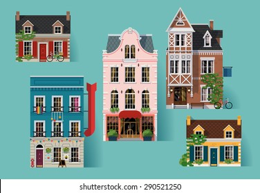 Collection of lovely detailed vector old small town retro victorian style building facades