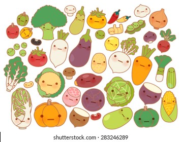 Collection of lovely fruit and vegetable icon , cute carrot , adorable turnip , sweet tomato , kawaii potato, girly corn Isolated on white in childlike manga cartoon style - Vector file EPS10